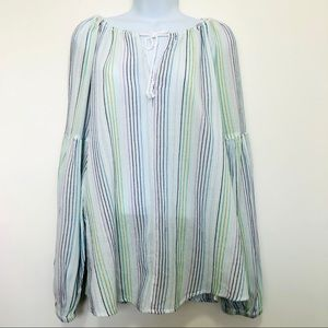 GAP White Multi Color Stitching Bell Sleeve Top